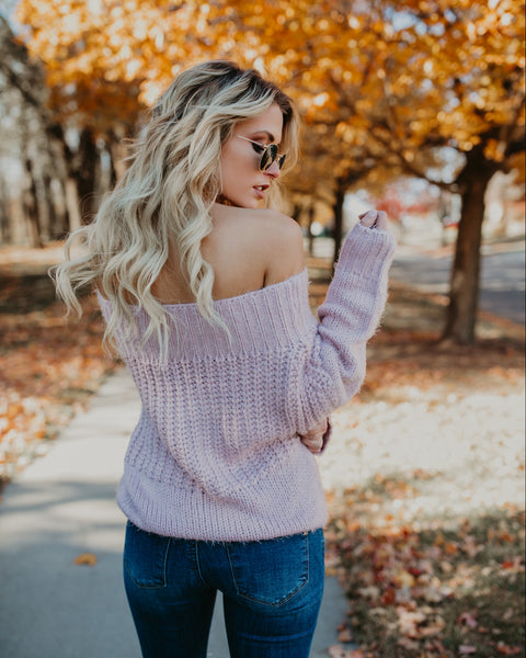 Warm Heart Off The Shoulder Sweater - Dusty Rose