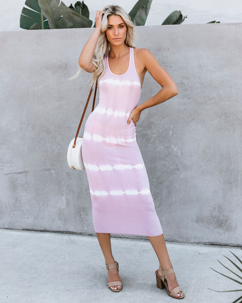 Dyeing To Know Ribbed Midi Dress - Blush