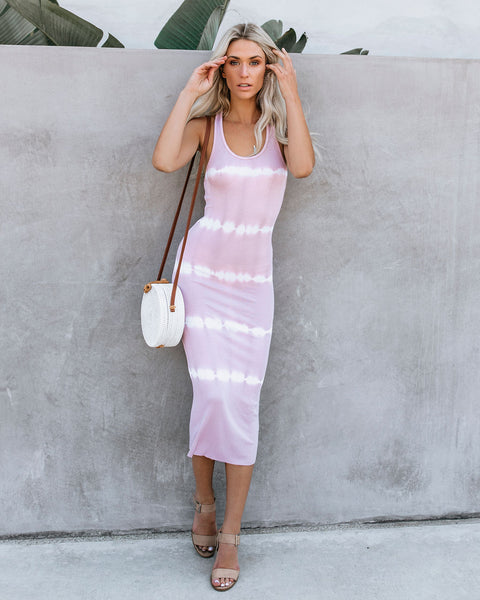 Dyeing To Know Ribbed Midi Dress - Blush - FINAL SALE