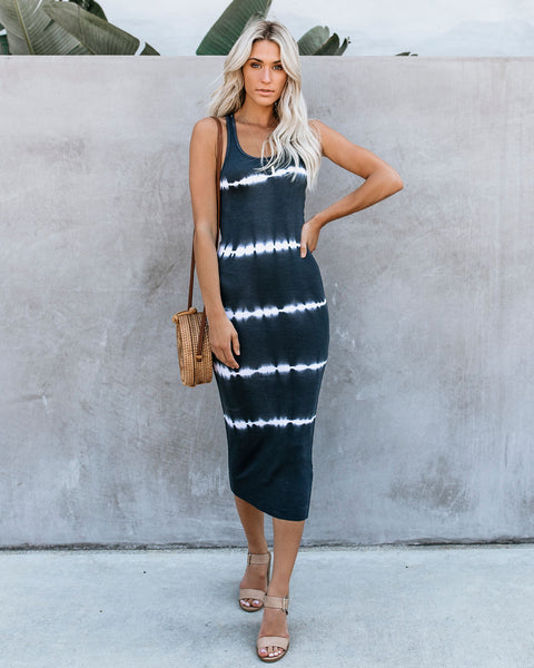 Dyeing To Know Ribbed Midi Dress - Charcoal
