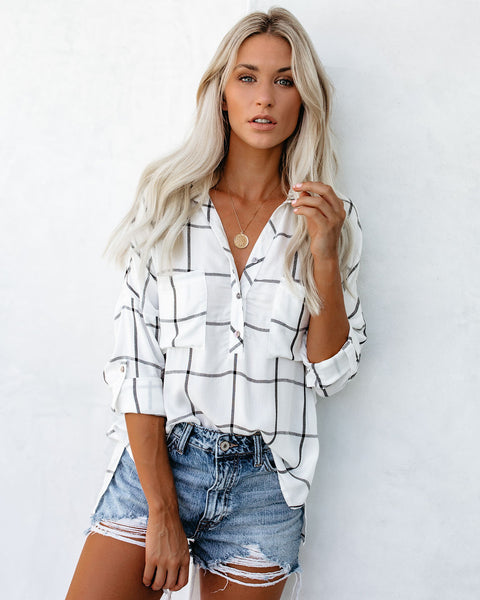 Early Check-In Plaid Button Down Top