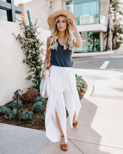 Easy Breezy Pocketed Side Slit Pants