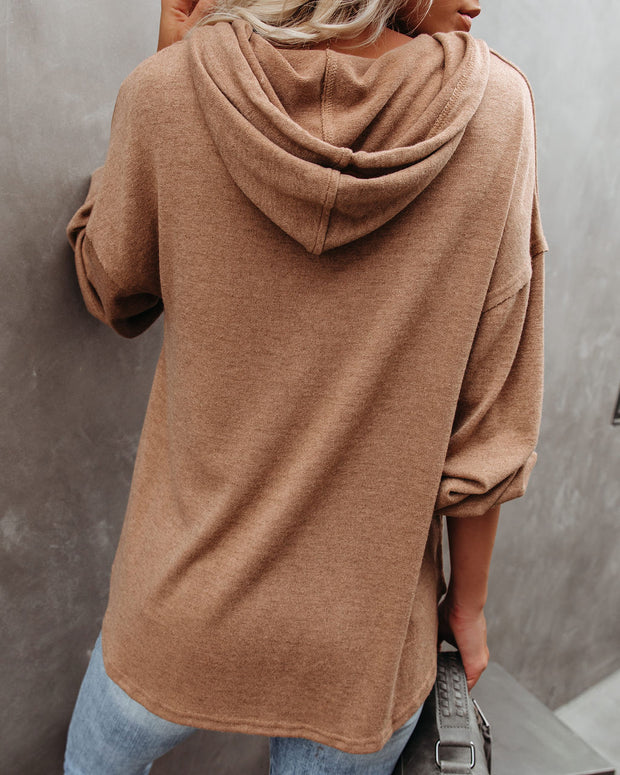 Easy Come, Easy Go Hooded Knit Henley Top - Mocha