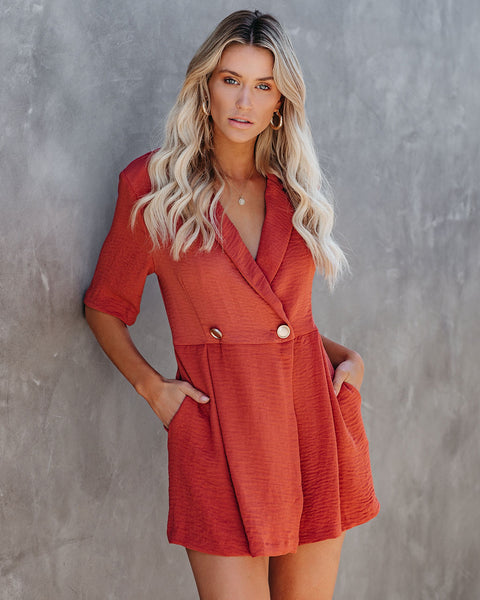 Easy Elegance Pocketed Collared Romper - Canyon