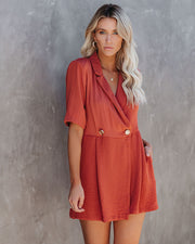 Easy Elegance Pocketed Collared Romper - Canyon - FINAL SALE