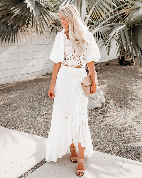 Easy Livin' Eyelet High Low Wrap Skirt
