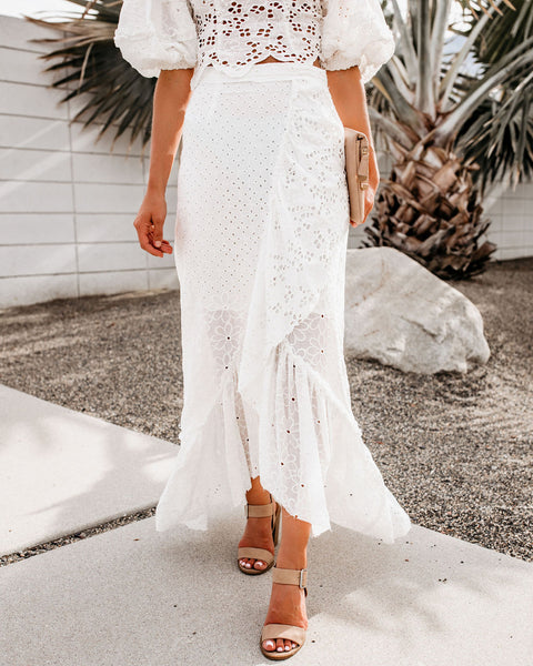 Easy Livin' Eyelet High Low Wrap Skirt - FINAL SALE