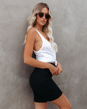 Effortless Cotton Ribbed Biker Shorts