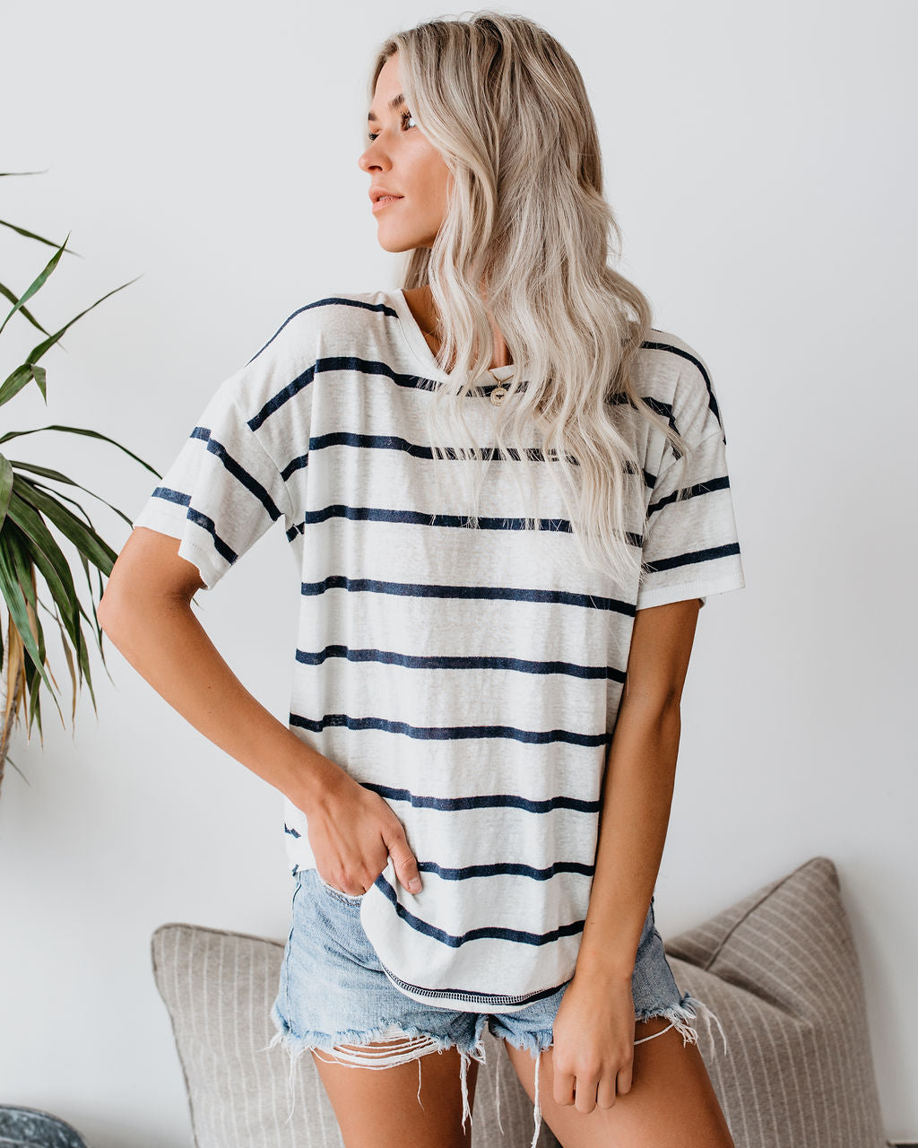 37c5e553b58 Detail Product. FILTER ← Home - CASUAL TOPS - Eisley Striped Linen Blend Tee