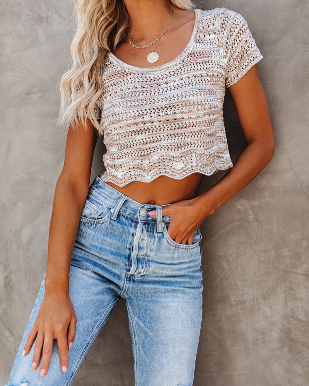 Elaine Scalloped Crochet Crop Top