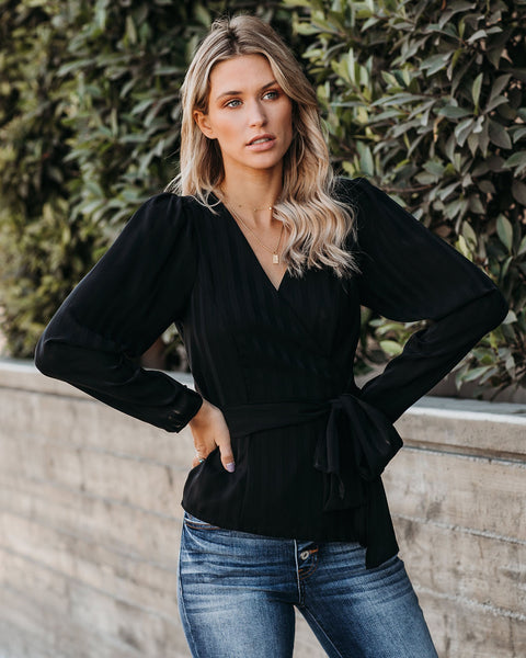 Eleanor Striped Wrap Blouse - Black - FINAL SALE