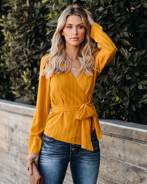Eleanor Striped Wrap Blouse - Mustard - FINAL SALE