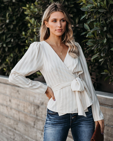 Eleanor Striped Wrap Blouse - Taupe - FINAL SALE