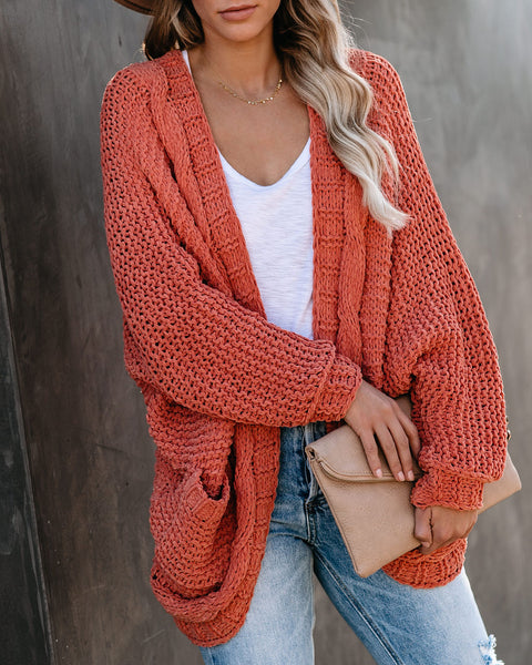 Elodie Pocketed Chenille Dolman Cardigan - Apricot  - FINAL SALE