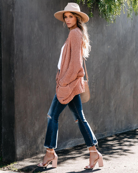 Elodie Pocketed Chenille Dolman Cardigan - Salmon