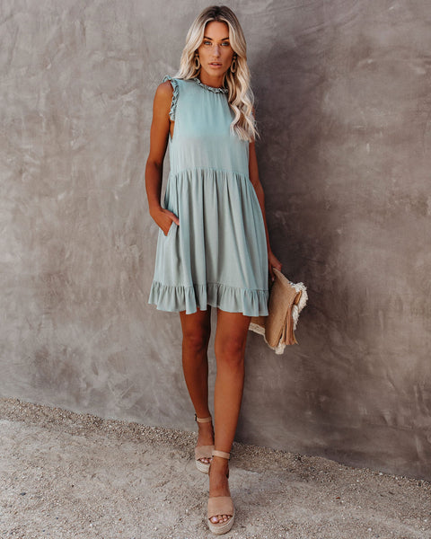 Eloise Pocketed Ruffle Babydoll Dress - Sage