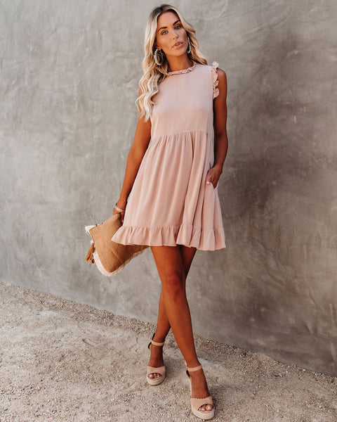 Eloise Pocketed Ruffle Babydoll Dress - Twig