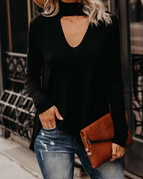 Elsa Cutout Turtleneck Knit Top