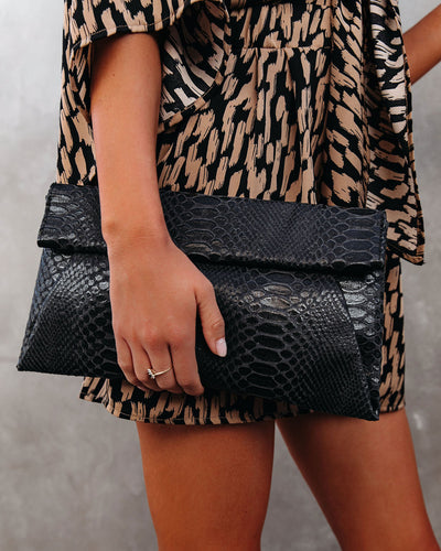 Emilia Snake Embossed Crossbody Clutch - Black
