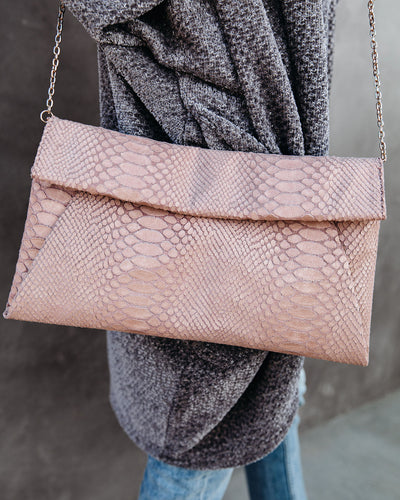 Emilia Snake Embossed Crossbody Clutch - Blush