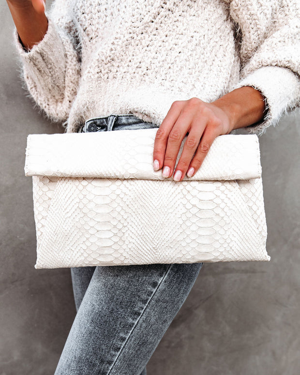 Emilia Snake Embossed Crossbody Clutch - Cream