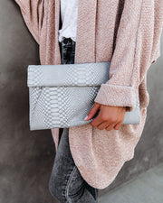 Emilia Snake Embossed Crossbody Clutch - Grey view 4