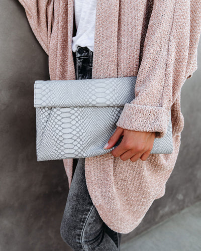 Emilia Snake Embossed Crossbody Clutch - Grey