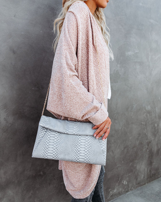 Emilia Snake Embossed Crossbody Clutch - Grey view 5