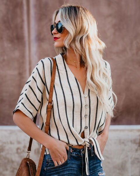Emilia Striped Button Down Tie Top