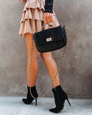 Emily Quilted Chain Crossbody Bag - Black view 1