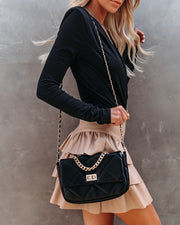 Emily Quilted Chain Crossbody Bag - Black view 5