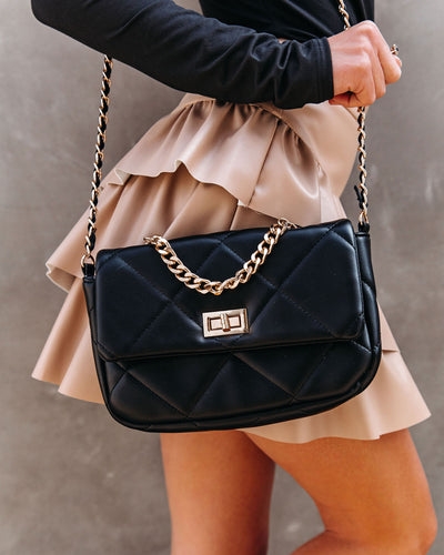 Emily Quilted Chain Crossbody Bag - Black