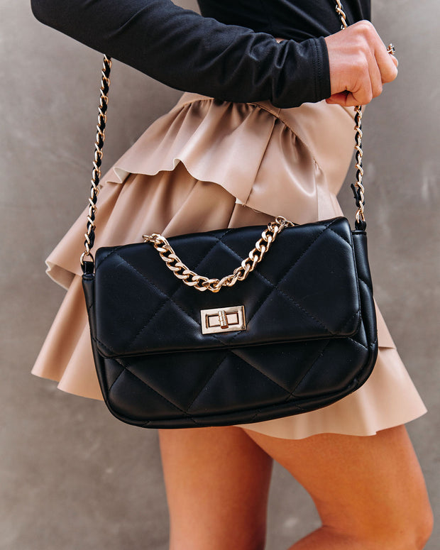 Emily Quilted Chain Crossbody Bag - Black view 3