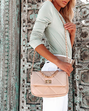 Emily Quilted Chain Crossbody Bag - Natural view 5