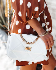 Emily Quilted Chain Crossbody Bag - White view 3