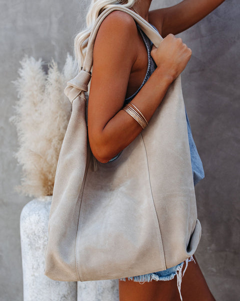Emma Suede Hobo Handbag - Natural
