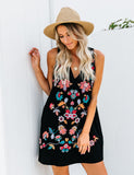 Emmy Embroidered Pocketed Shift Dress - Black - FINAL SALE