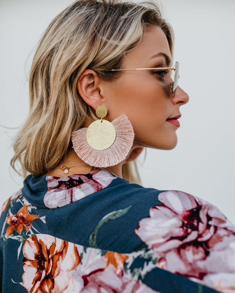 OLIVE + PIPER - Emperor Fringe Statement Earrings - Blush - SHIPPING IN 1 WEEK!