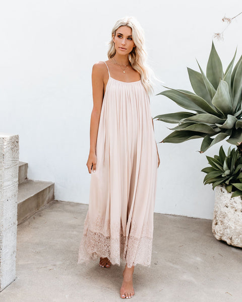 Enchanted By Your Love Lace Maxi Dress - Blush