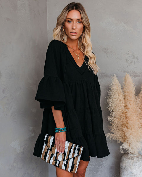 Endless Summer Cotton Tiered Babydoll Tunic - Black