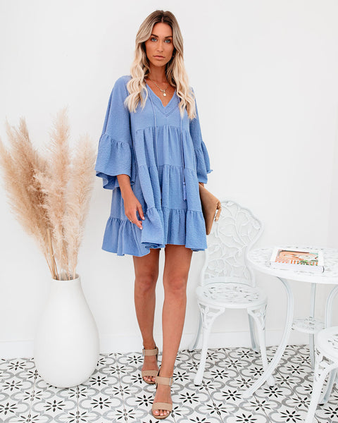 Endless Summer Cotton Tiered Babydoll Tunic - Blue