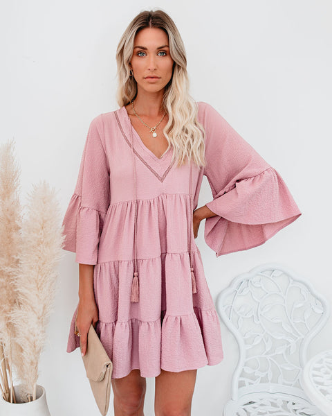 Endless Summer Cotton Tiered Babydoll Tunic - Mauve