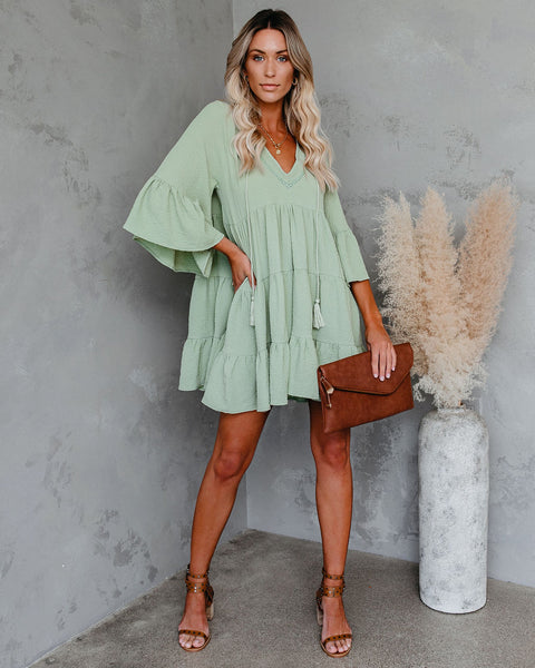 Endless Summer Cotton Tiered Babydoll Tunic - Sage