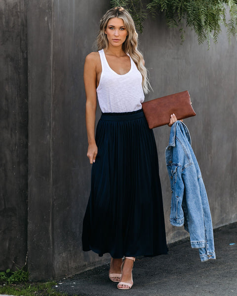 End Of The Night Pleated Satin Maxi Skirt - Navy - FINAL SALE