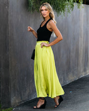 End Of The Night Pleated Satin Maxi Skirt - Neon Lime - FINAL SALE