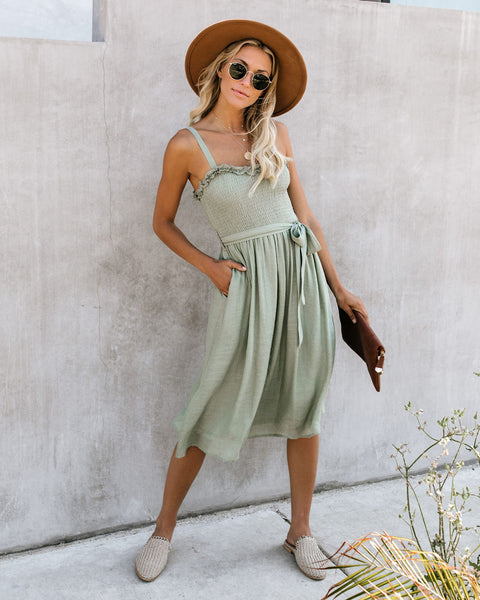Enjoy It All Pocketed Smocked Midi Dress - Light Olive