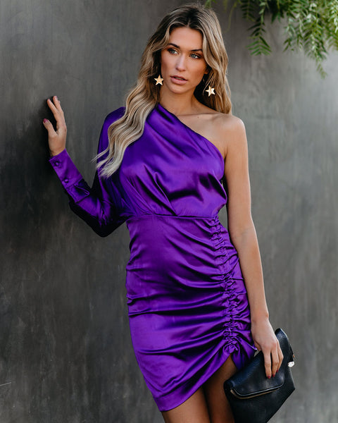 Entertain One Shoulder Satin Ruched Dress