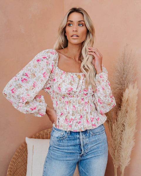Epic Time Cotton Floral Smocked Top