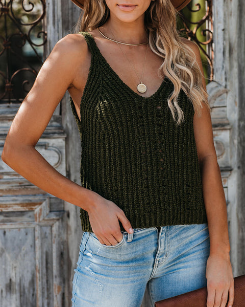 Equinox Cotton Blend Knit Tank - Military Green  - FINAL SALE