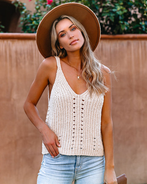 Equinox Cotton Blend Knit Tank - Vanilla